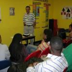 Bart sharing at a student evangelism workshop